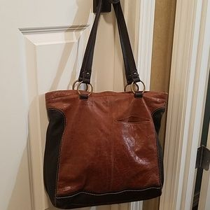 The Sak large leather brown tote purse bag